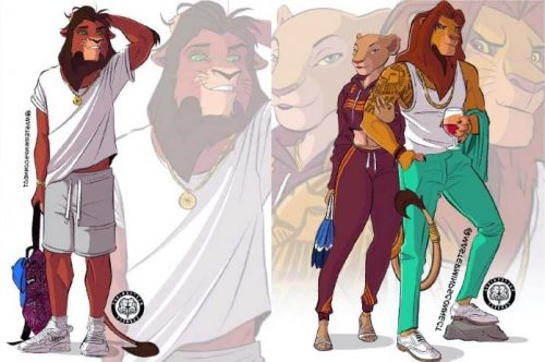 Brutal, funny, and stylish Lion King characters in the world of people