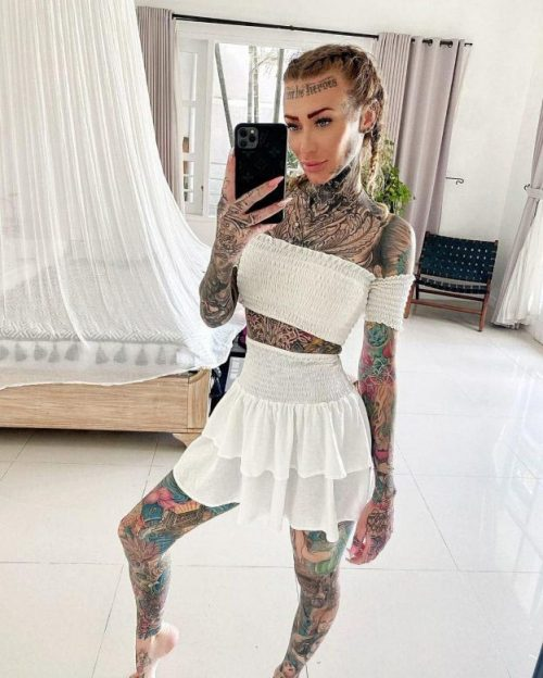 Becky Holt covered 95% of her body with tattoos